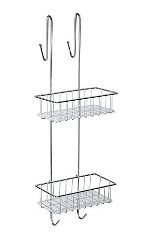WENKO Duschcaddy Aldo 2 Etagen Edelstahl - Duschregal, Aufbewahrungskorb, Edelstahl rostfrei, 24.5 x 70 x 20 cm, Glänzend