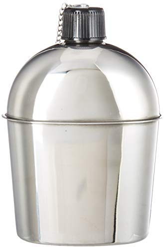 Mil-Spec Adventure Gear Plus MSA02-0123055000 Wwii Style Canteen, Stainless Steel