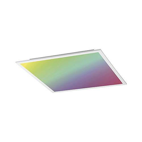 LED Panel flach, 45x45, Decken-Lampe mit RGB-Farbwechsel | LED Deckenpanel stufenlos dimmbar mit Fernbedienung, warmweiss | Decken-Leuchte für Wohnzimmer, Küche und Bad