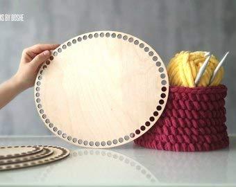 Base para cesta de ganchillo ovalada, cortada con láser
