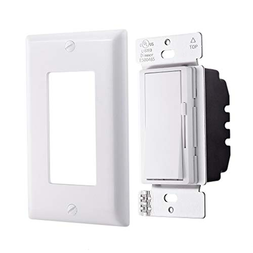 C.L Dimmer Switch for Dimmable LED lights, Halogen and Incandescent Bulbs, with Wallplate, Single-Pole or 3-Way,White