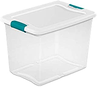 Sterilite 14958006 25 quart/24 L Latching Box with Clear Base, White Lid and Colored Latches, 6-Pack