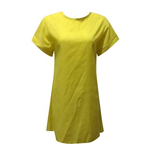 Damen Mini Leinen Kleid Sommer Kleid Freizeit Kleid Casual Solid Color Short Sleeve Fashion Crew Neck Beach Party Rock Kaftan Kleid Luftiges Kleid Florydays Kleider Tuchkleid Blusenkleid Gelb XL