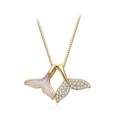 BJGCWY Two Fishtails Rhinestone Dripping Glaze Whale 925 Sterling Silver Clavicle Chain Female Necklace