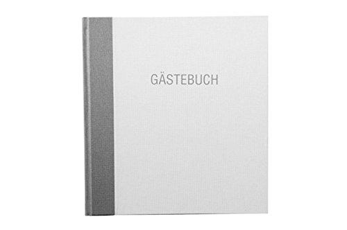 Gästebuch Aufdruck 'Gästebuch' Buchleinen in Weiß/Hellgrau 23x25cm Handgebunden - andere Farben...