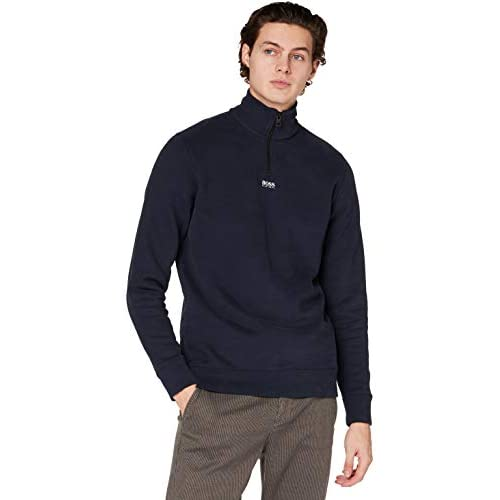 BOSS Mens Zapper Relaxed-fit zip-neck sweatshirt in French terry
