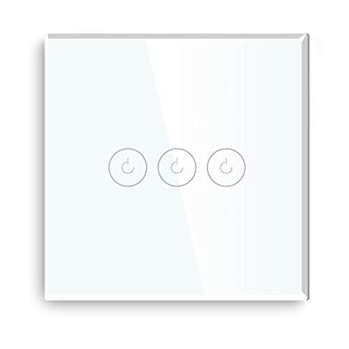BSEED Interruptor de Sensor Táctil WIFI Inteligente (Se Requiere Línea Neutra) Alexa y Google Home Work con Tuya Para Interruptores de Luz de Pared con Placa de Cristal Negro 3 Gang 1 Vía Blanco