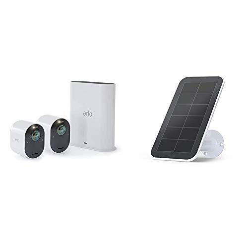 Arlo Ultra 4K HDR   Caméra de Surveillance WiFi sans Fils. Grand Angle 180° Spot intégré, Pack de 2 caméras & Accessoires Arlo Ultra et Pro 3 - Panneau Solaire Waterproof, Batteries rechargées
