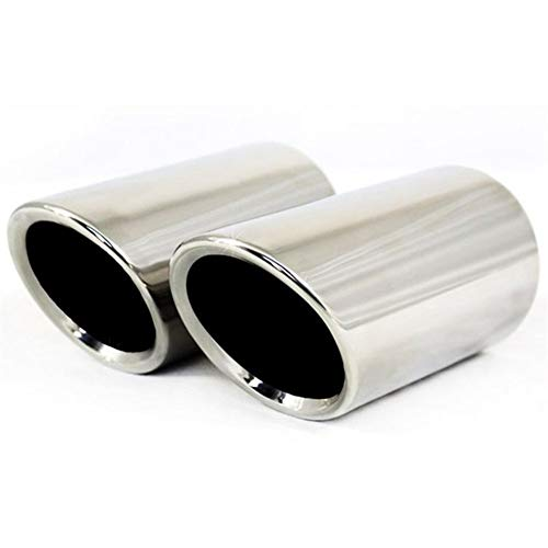 Auto-Auspuff 1pair Verchromung Edelstahl Auto-Auspuff-Schalldämpfer Spitze Rohre Abdeckungen, Universal-Autozubehör Für Autos (Color : Silver)