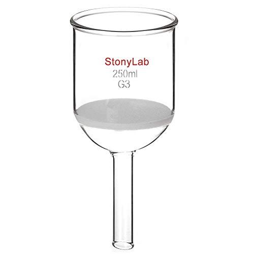 StonyLab Glas Büchner Trichter Filter, Borosilikatglas Buchner Filtertrichter mit Feiner Fritte(G3), 76mm Innendurchmesser, 80mm Tiefe - 250ml