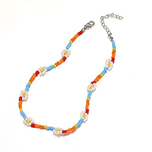 JOMYO Kleurrijke parelketting, beaded necklace, meerlaagse Boheemse halsketting, zeven kleurrijke rijkralen- en…