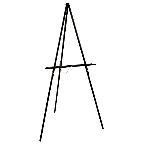 """U.S. Art Supply 64"""" High Black Torrey Wooden A-Frame Tripod Studio Artist Floor Easel - Adjustable Tray Height, Holds 40"""" Canvas - Wood Display Holder Stand for Paintings Drawings Framed Photos, Signs"""