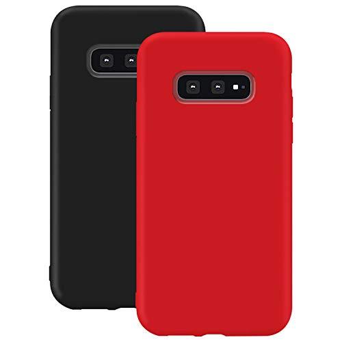 Coque en Silicone pour Galaxy S10 Lite, Misstars Ultra Mince Souple TPU Gel Mat Bumper Doux Léger Anti Rayure Antichoc Housse Étui de Protection pour Samsung Galaxy S10 Lite, Noir + Rouge