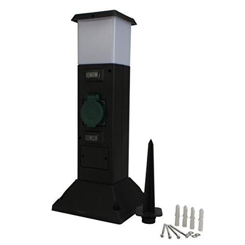 UNITEC Steckdosenverteiler für den Außenbereich |2 Steckdosen |IP 44|zusätzliche Beleuchtung | Kunststoffsäule