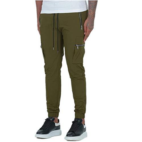 Pantalones con cordn para Hombre Verano Mono de Color Liso Pantalones Deportivos y de Ocio para Correr al Aire Libre con mltiples Bolsillos XL