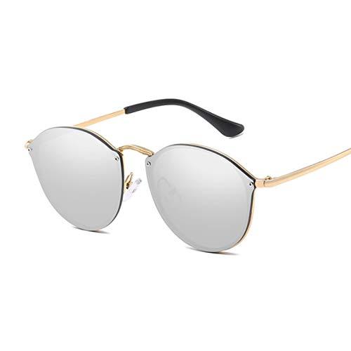 Sunglasses Gafas de Sol de Moda Gafas De Sol Redondas Diseñador De La Marca Vintage Gafas De Sol Negras con Espejo para