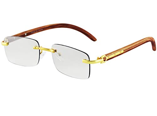 Retro Wood Buffs Vintage Style Gangster Rimless Clear Lens Rectangular Metal & Wood Eye Glasses (Light Brown-Gold/Tinted Clear Lens)