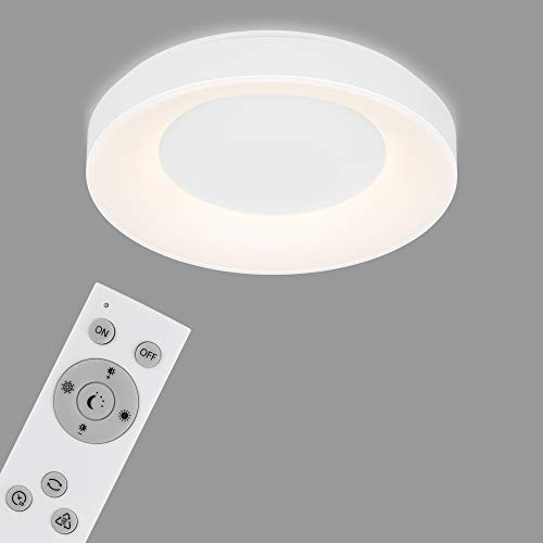 Briloner Leuchten - LED Deckenleuchte, Deckenlampe dimmbar, inkl. Fernbedienung, Farbtemperatursteuerung, inkl. Nachtlicht, Timerfunktion, 36 Watt, 3.600 Lumen, Weiß, Ø 48,4cm, 3427-016