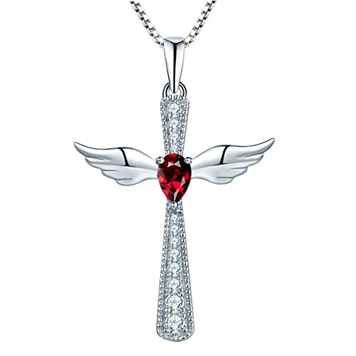 YL Women's Cross Necklace Sterling Silver Cubic Zirconia Angel Wings Crucifix Pendant Teardrop Created Ruby Criss Jewelry