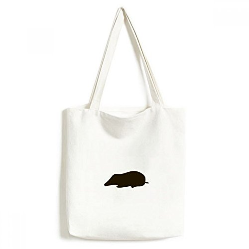 DIYthinker Black Mole Animal portret Milieuwasbaar Winkelen Tote Canvas Bag Craft Gift