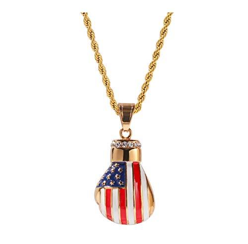 chenyou Guantes Bandera de la Manera Collar de Oro Colgante Collar de Boxeo for los Hombres Cuban Link Chain Mujer niña para (Color : 60cm, Size : USA)