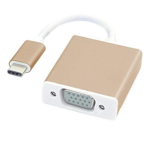 Xmiral Adattatore da USB C a VGA Adattatore da USB 3.1 Tipo C (USB-C) a VGA con Custodia in Alluminio (M,Oro)