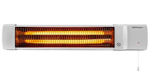Orbegozo BB 5002 - Estufa de cuarzo para baño, selección de potencias mediante tirador, emisión instantánea de calor, pantalla orientable, 1200 W