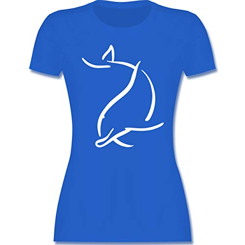 Sonstige Tiere - Simpler Delfin - L - Royalblau - Delfin Tshirt - L191 - Tailliertes Tshirt für Damen und Frauen T-Shirt