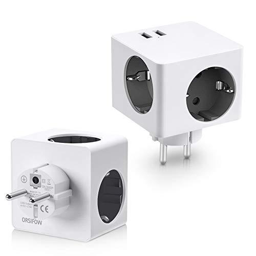 ORSIFOW Steckdosenadapter, 3 Steckdosen(3680W) mit 2 USB Anschluss (2.4A), 5-in-1 Würfel USB Steckdose Adapter für Haushaltsgerät, iPhone, Smartphone, Mp3 usw