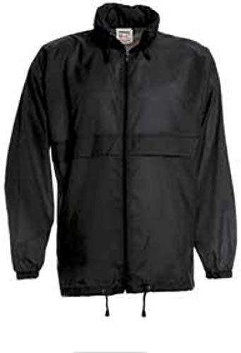 ShirtInStyle - Giacca antivento impermeabile basica con cappuccio, taglie S-XXXL Nero  XXXL