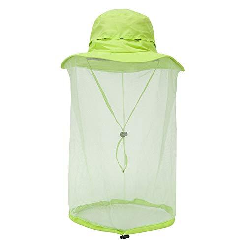 WFZ17 Chapeau de tête anti-moustique unisexe, pour l'été, le camping, le soleil, les guêpes et les fruits, vert