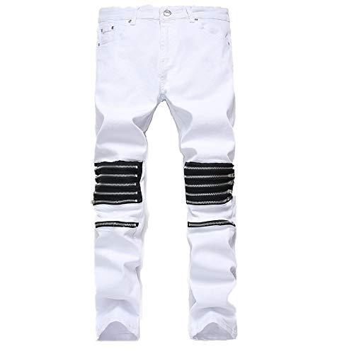 CFWL Jeans Herren Street Herren Jeans Herren High Street PersöNlichkeit Stretch WeißE Jeans 34 Herren Hosen Jeans Fahrrad Hosen Herren Army Hosen Herren Fitness Hosen Herren Cargo Hosen Herren