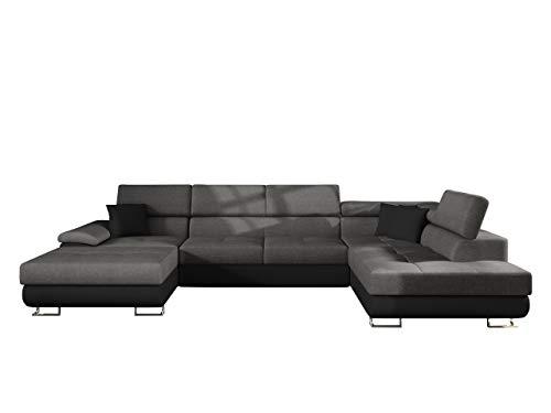 Mirjan24 - Divano angolare Cotere Bis, divano con funzione letto e cassettone, a forma di U, colori assortiti (Soft 011 + Lux 06 + Soft 011, lato destro)