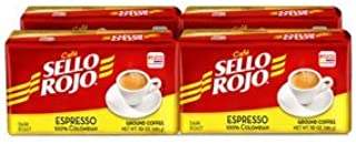 Cafe Sello Rojo Espresso | Best selling coffee brand in Colombia | 100% Colombian dark roast ground arabica coffee | Premium Cuban Expresso Coffee type | Freshly vacuum packed in bricks (Pack of 4)
