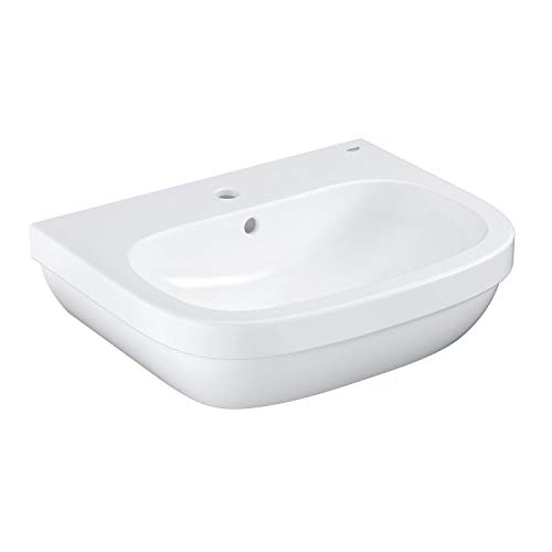 GROHE Euro Keramik | Waschtisch (Waschbecken, Waschplatz), 60 cm breit | Wandhängend, Weiß, mit Überlauf und Hahnloch | 39335000