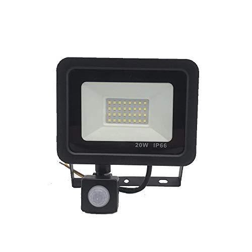 Veiligheidslichten met bewegingssensor, superheldere LED-schijnwerper, daglicht, wit, IP66 waterdicht, LED-sensor, buitenverlichting, straler, perfect voor garage, tuin en voortuin