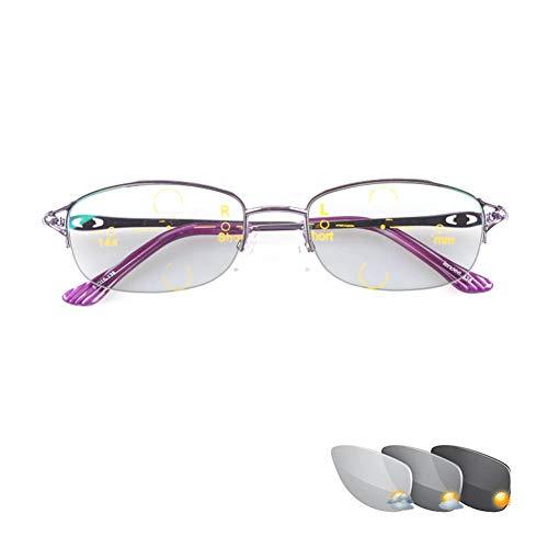 Progressive Multifokus-Lesebrille für Damen, photochrome Sonnenbrille, automatische Brillen mit Farbwechsel im Freien, 3 Visionen, Comfort Reader, Lila