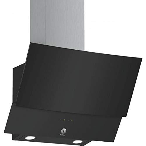 Balay 3BC565GN Serie Cristal - Campana extractora decorativa, ancho 60 cm, 3 niveles de extracción, 530 m3/h de potencia de extracción en nivel 3, color negro