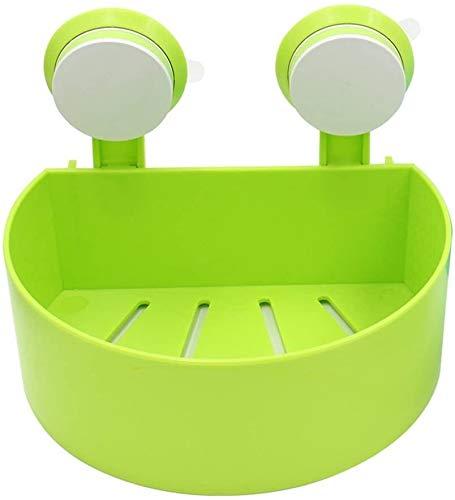 AINIYF Montado en la pared del baño baño plataforma de baño estante de plástico for cercas Ambiental semicírculo de drenaje hueco de uñas libres de perforación de succión Tipo 3 colores Capa 1 (Color: