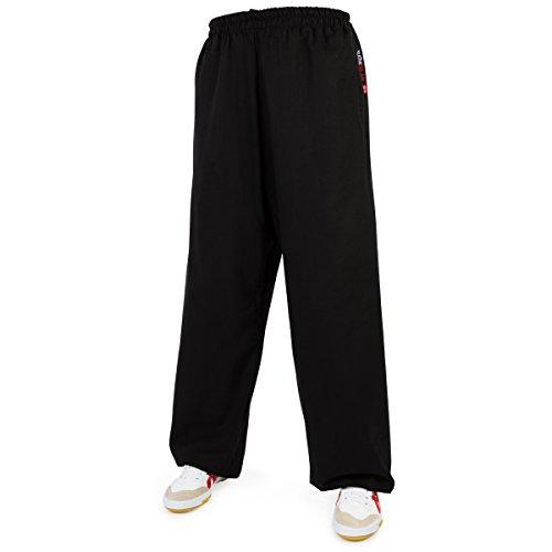 wu designs Leinen (Mittel) Kung Fu & Tai Chi Trainingshose Schwarz 180