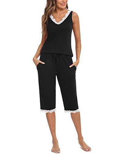 Aibrou Pijamas de Mujer, Pijama Mujer Verano sin Mangas Pijamas Cortos Mujer Encaje con Bolsillo Pantalón Cropped Conjunto de Pijama Mujer Ropa de Casa per Hogar Casual Negro XL