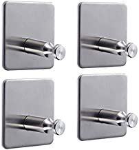 Number-One Self Adhesive Hooks, Waterproof Bath Towel Hooks Stainless Rust-Proof Steel 3M Sticky Hook Max Load 3KG for Hanging Bathroom Home Kitchen Office Door (4 Packs