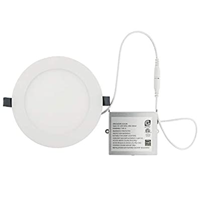 LED Recessed Light Fixture 6 inch Round with Driver, 3000K Bright White, 14W, 1000 Lumens, 120V, Low Profile, Dimmable, Energy Star and IC Rated, White Trim