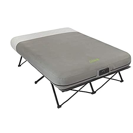 Coleman Queen Frame Airbed Cot with Side Tables and Built-In Pump.