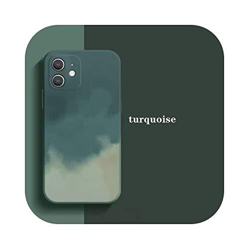 Funda oficial original para iPhone 12 Pro caso acuarela pintura caso para iPhone 11 Pro Max XR X XS Max 7 8Plus cubierta protegida-turquesa para iPhone X