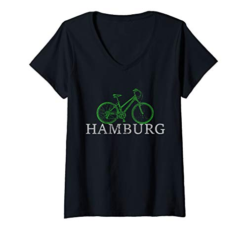 Damen Grüne Mobilität - Nachhaltig mit dem Fahrrad durch Hamburg T-Shirt mit V-Ausschnitt