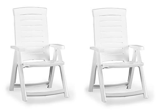 Jardin Camino Klappsessel - 2-Stück - bequemer Gartenstuhl aus Kunststoff - Weiß