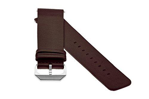 slow - Dunkelbraunes Lederband mit silbernem Verschluss - 20mm Breite