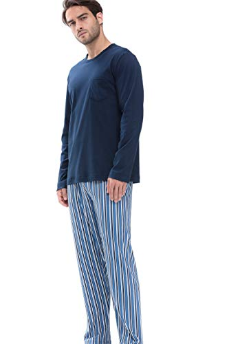 Mey Night Breiter Streifen Herren Schlafanzüge lang Blau 54