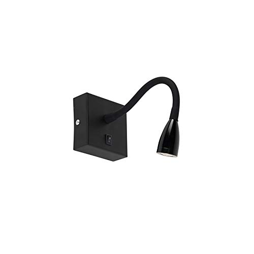 Qazqa Applique Murale   Lampe Murale Moderne - Flex Lampe Noir - LED (LED incluse) - 1 x 3 Watt